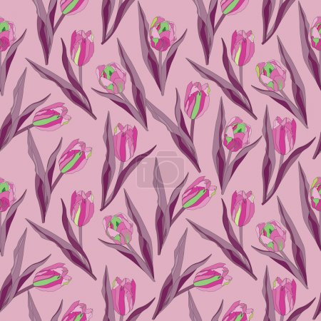 Seamless pattern with plant motifs flowers tulips bouquets