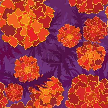 Illustration for Floral seamless background with red, yellow and purple flowers. Ornate flower pattern. - Royalty Free Image