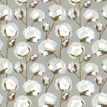 Cotton plant floral seamless pattern