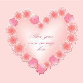 Přání s srdce a růže v dívčí styl