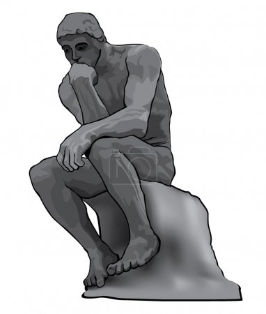 Thinker man concept illustration. The Thinker Statue by the French Sculptor Rodin.