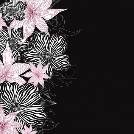 Black and white background with white and pink flowers. Elegant floral vector border