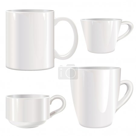 White cup vector set.