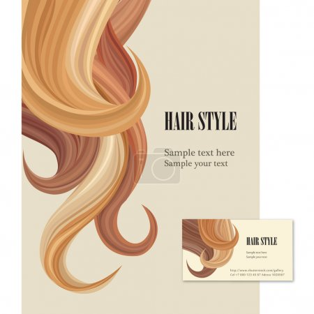 Illustration for Hair style. Vector set poster and visit card. - Royalty Free Image