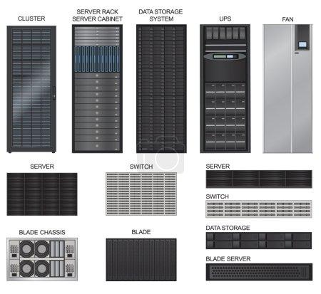 Illustration pour Vecteur d'équipement de salle de serveur réglé sur fond blanc - image libre de droit