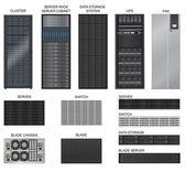 Server room equipment vector set on white background