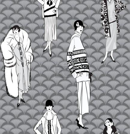 Illustration pour Modèle sans couture filles (style années 20) de clapet : mode rétro partie de fond - image libre de droit