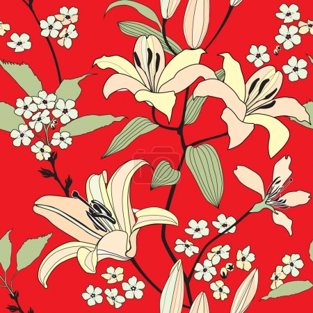 Gentle flower lily seamless background. Stylish chinese floral pattern over red.