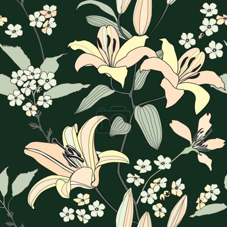 Gentle flower lily seamless background. Stylish chinese floral pattern over black.