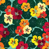 seamless pattern background with multicolor bouquet of flowers nasturtium