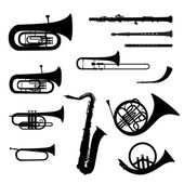 Music instruments vector set Musical instrument silhouette on white background