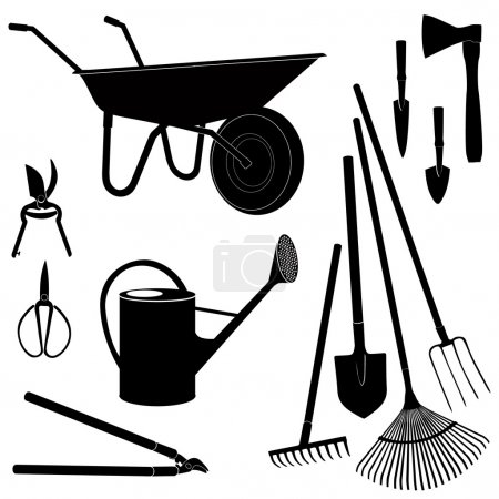 Gardening tools isolated on white background. Garden equipment silhouette vector set.