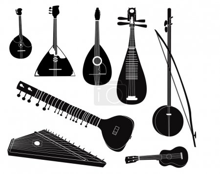Ethnic music instruments vector set. Musical instrument silhouette on white background.