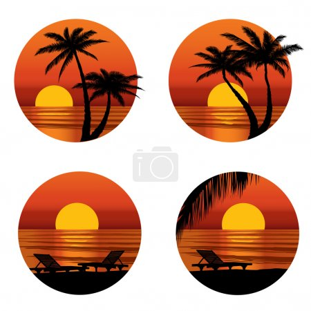 Illustration for Sunset view at resort. Relaxing in the evening on beach with palm tree. Vector icons set. - Royalty Free Image