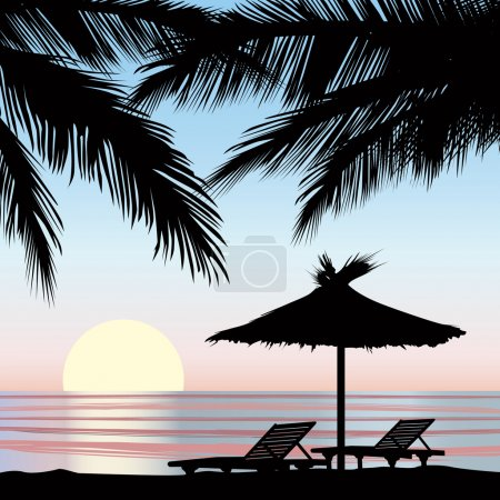 Illustration for Sunrise view at resort. Relaxing holiday on beach with palm tree - Royalty Free Image