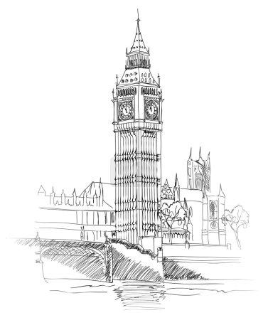 Landscape of London. Big Ben Tower