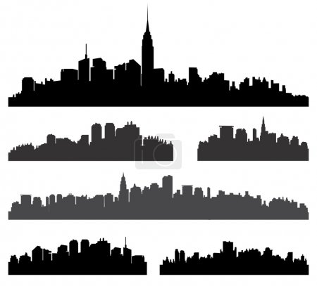 City silhouette vector set. Panorama cityscape bac...