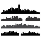City silhouette vector set Panorama cityscape background American town skyline urban border collection