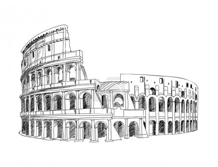 Illustration for Coliseum in Rome, Italy. Colosseum hand drawn vector illustration isolated over white background - Royalty Free Image