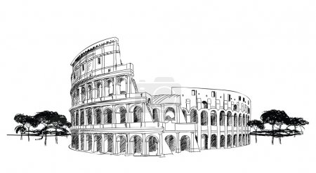 Colosseum in Rome, Italy. Landmark of Coliseum, ha...