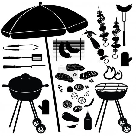 Illustration for Barbecue icons vector set. BBQ illustrations collection of silhouette isolated on white background. - Royalty Free Image