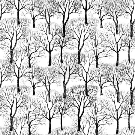 Forest in winter seamless pattern