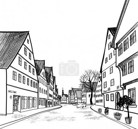 Illustration for Old-fashioned german alleyway in province town. Pedestrian street in the old european city with tower on the background. Historic city street. Hand drawn sketch. Vector illustration. - Royalty Free Image