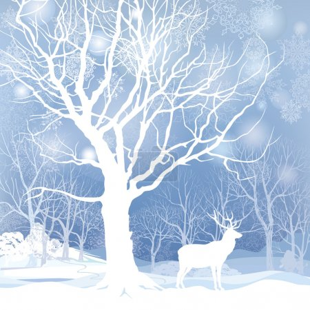 Snow winter forest landscape with deer. Abstract v...