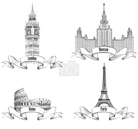 Photo pour Esquisse des symboles des villes européennes : Paris (Tour Eiffel), Londres (Big Ben, Abbaye de Westminster), Rome (Colisée), Moscou (Université d'Etat Lomonosov Moscou) ) - image libre de droit