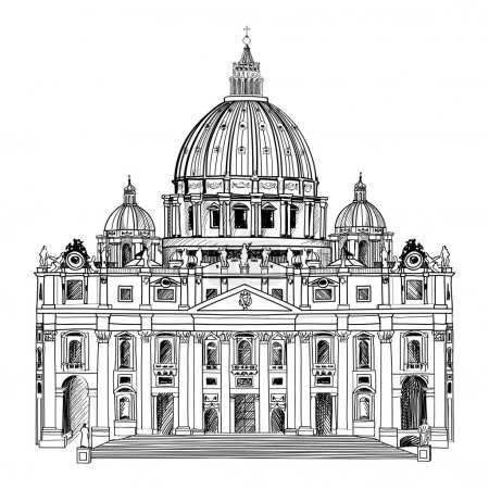 St. Peter's Cathedral, Rome, Italy. Hand drawn vec...