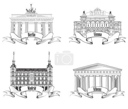 Athens Berlin Madrid Vienna Signpost Label Set