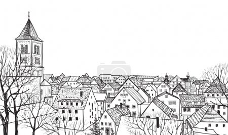 Illustration for Pedestrian street in the old European city with tower on the background. Historic city street in Burglengenfeld, Bavaria, Germany. Hand drawn sketch of cityscape - Royalty Free Image