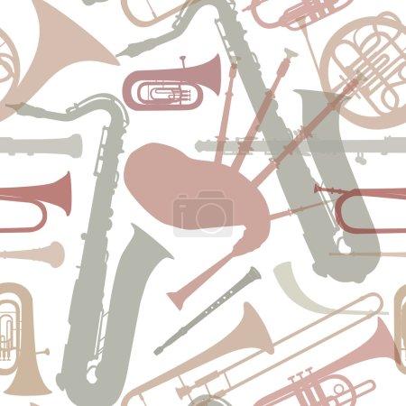 Music instruments seamless pattern.