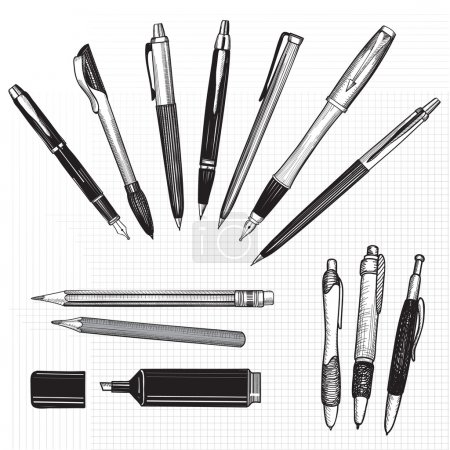 Illustration for Pen set. Hand drawn vector. Pencils, pens and marker collection isolated on white - Royalty Free Image
