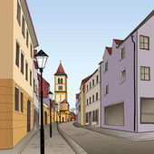 Pedestrian street in the old european city with tower on the background Historic city street Hand drawn sketch Vector illustration