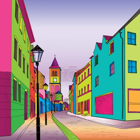 Illustration for Funky journey. Predistant street in euoropean city. Colorful panorama city vector background in 1960s pop art style. - Royalty Free Image