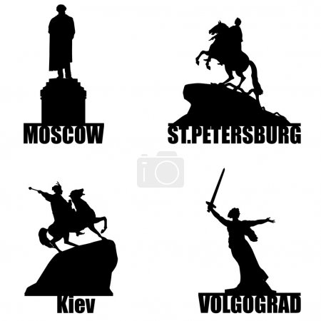 Russian city symbol silhouette set
