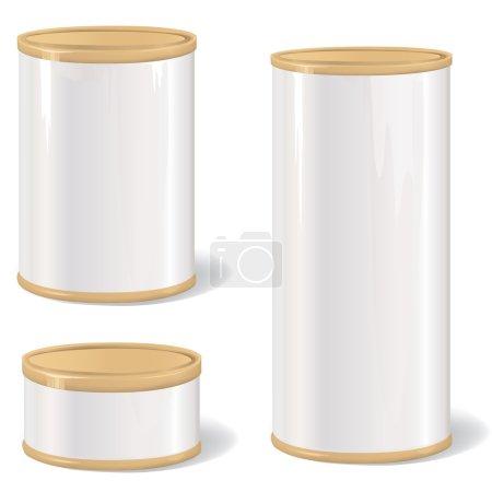 Illustration pour Coffret cadeau en métal. collection de tincan blanc avec étiquette vintage. boîte de conserve métallique. conserves rétro. emballage de produit. - image libre de droit
