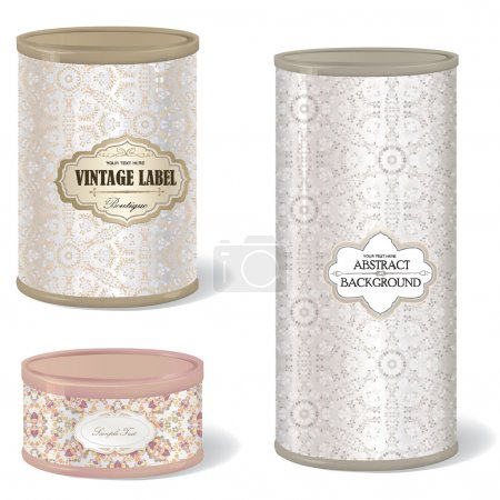 Illustration for Metal Gift Box Set. Blank tincan collection with vintage label. Metal Tin Can. Retro Canned Food. Product Packing. - Royalty Free Image