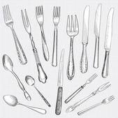 Fork Knife Spoon hand drawing sketch set