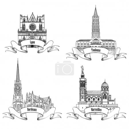 French famous buildings and landmarks.   Travel Fr...