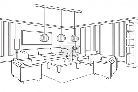 Illustration for Editable vector illustration of an outline sketch of a interior. - Royalty Free Image