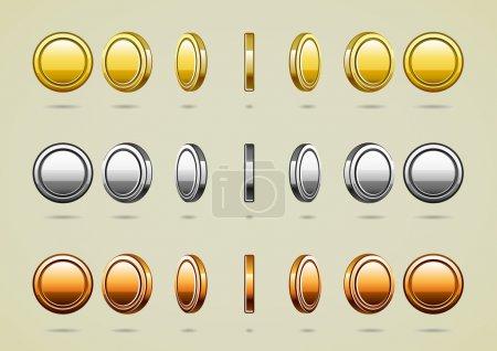 Illustration pour Collection de pièces d'or, de bronze et d'argent - image libre de droit