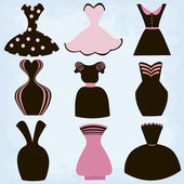 Set of dresses Sketch Clothes Vector Illustration