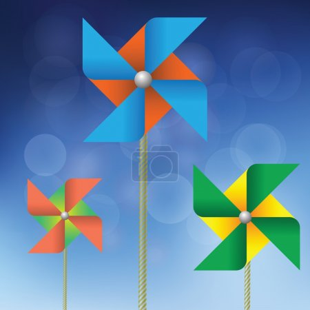 Illustration with colorful windmills on a blue background for your design