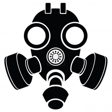 Illustration for Illustration with silhouette of gas mask on a white background for your design - Royalty Free Image