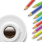 coffee cup and pencils