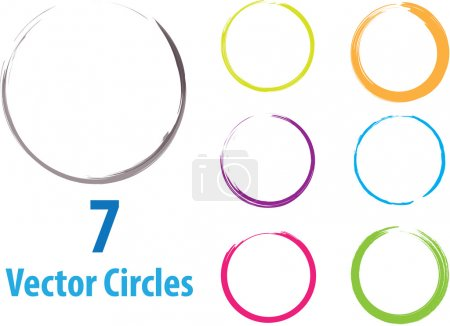 Seven colored vector circles in grunge style...