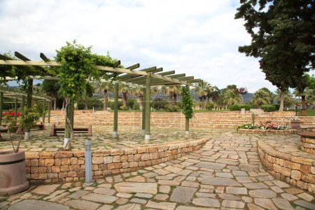 Stone outdoor terrace with wooden pergola and plants