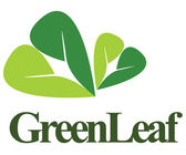 Abstract and unique logo consisting of 2 green leaves